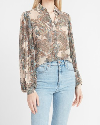 Express Paisley Pleated Balloon Sleeve Shirt