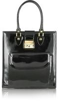 L.a.p.a. Black Patent Leather Tote Bag