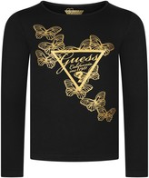 GUESS Black Long Sleeve Butterfly Top
