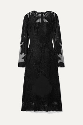 Dolce & Gabbana Embroidered Lace And Crepe De Chine Midi Dress - Black