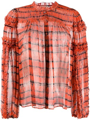 Ulla Johnson Long Sleeve Silk Tie-Dye Top