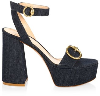 Gianvito Rossi Zandra Denim Platform Sandals