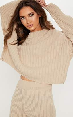 PrettyLittleThing Stone Ribbed Knitted Oversized Jumper
