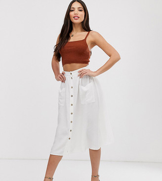 New Look Tall button through midi skirt in white-Red