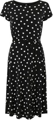 Wallis Black Polka Dot Short Sleeve Midi Dress