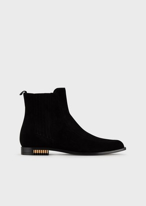 Giorgio Armani Suede Beatle Boots With Pleated Metal Inserts