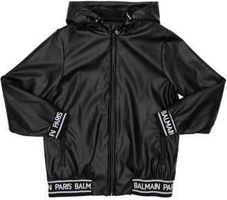 Balmain Faux Leather Jacket W/ Hood