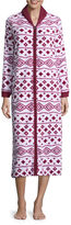 Asstd National Brand Comfort and Co. Coral Fleece Zip Print Plush Robe
