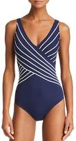 Gottex Stripe Surplice One Piece Swimsuit