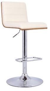 Armen Living Aubrey Adjustable Swivel Barstool in PU upholstery and Walnut Back