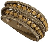 Apricot Tan Faux Suede Gold Embellished Layered Cuff Bracelet