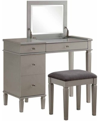 Linon Alexanderia Vanity Table Set with Mirror and Upholstered Stool, Silver Finish