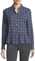 The Great The Ruffle Long-Sleeve Plaid Oxford Shirt