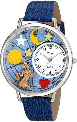 Whimsical Watches Virgo Royal Blue Leather and Silvertone Unisex Quartz Watch with White Dial Analogue Display and Multicolour Leather Strap U-1810002
