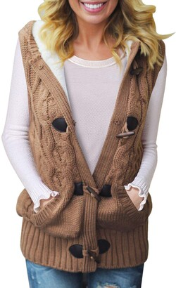 AlvaQ Womens Cable Knit Hooded Sweater Vest Casual Blouses Top Cozy Casual Button Down Jumpers Cardigan Khaki