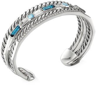 David Yurman Stax Narrow Blue Topaz & Diamond Cuff Bracelet