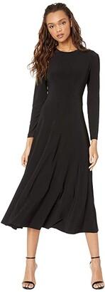 KAMALIKULTURE by Norma Kamali Long Sleeve Flared Dress (Black) Women's Dress