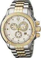 Brillier Men's 13-04 Fortress Diamond Swiss 47mm Chronograph Day and Date Function Watch