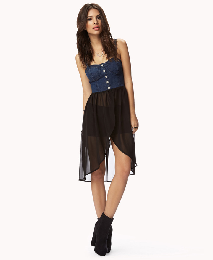 Forever 21 denim & chiffon combo top