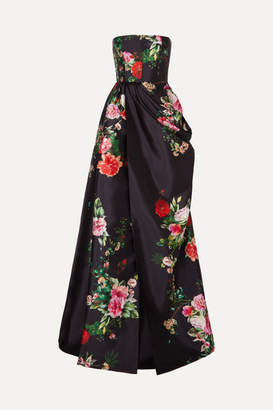 Alex Perry Alex Ruched Floral-print Satin-crepe Gown - Black