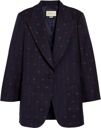 Gucci GG Pinstripe Wool Blazer