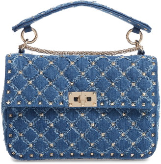 Valentino Rockstud Matelasse Denim Shoulder Bag