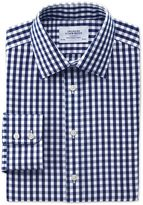 Charles Tyrwhitt Classic Fit Non-Iron Oxford Gingham Navy Cotton Dress Shirt Single Cuff Size 16/38