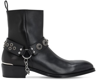 Alexander McQueen 40mm Leather Boots W/Embellished Strap