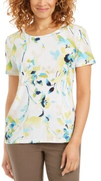 JM Collection Jacquard Printed T-Shirt, Created for Macy's