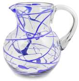 Blown Glass Blue Pitcher 84 oz Hand Blown in Mexico, 'Sapphire Swirl'