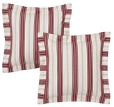 "Nobrand No Brand Kitchen Stripe Pillow Pillow Pair Slipcover - Red/White (16x16"")"