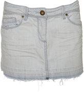Distressed Denim Cut Off Skirt