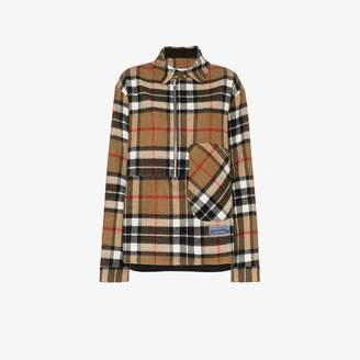 we11done zip front check wool shirt