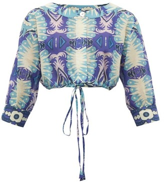 Le Sirenuse Le Sirenuse, Positano - Emma Abstract Print Cropped Cotton Shirt - Womens - Blue Multi