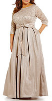 Jessica Howard Plus Lace Top with Pleated Skirt Ball Gown