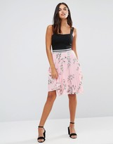 Wal G Pleated Floral Skirt
