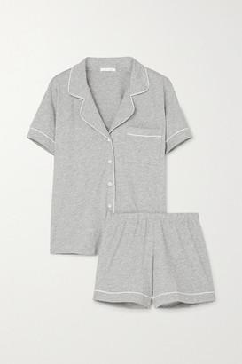 Skin Piped Melange Organic Pima Cotton-jersey Pajama Set - Gray