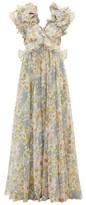 Zimmermann Super Eight Floral-print Cotton-blend Maxi Dress - Womens - Blue Print