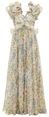 Zimmermann Super Eight Floral-print Cotton-blend Maxi Dress - Womens - Blue Print