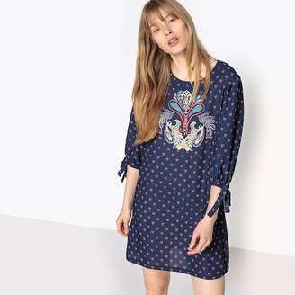 La Redoute Collections Printed Round Neck Shift Dress with 3/4 Length Sleeves