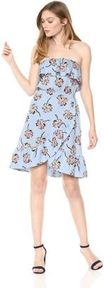 J.o.a. Women's Off The Shoulder Strapless Ruffle Flounce Blouson WRAP Dress