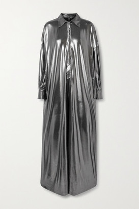 Norma Kamali Metallic Stretch-jersey Jumpsuit - Gunmetal
