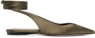 ATTICO Satin-Effect Lace-Up Ballerina Shoes