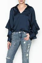 Elan International Muffled Sleeved Top