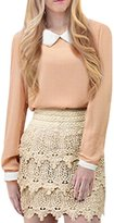 Allegra K Ladies Doll Collar Full Sleeves Chiffon Shirt XS