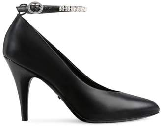 Gucci Leather Ankle-Strap Pumps with Crystals
