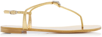 Giuseppe Zanotti Brooch-Embellished Leather T-Strap Sandals