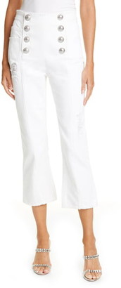 Balmain Button Front Crop Flare Jeans