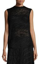Lafayette 148 New York Sleeveless Knit Lace Sweater, Black