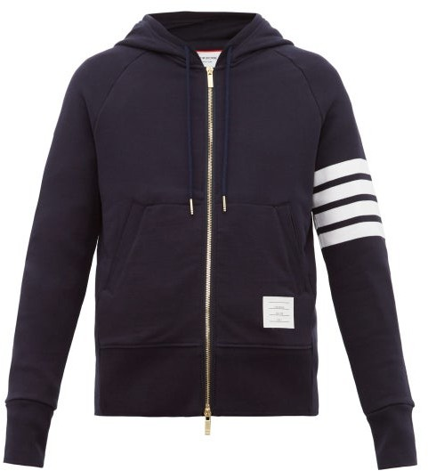 Thom Browne Zip-through Cotton Hooded Sweatshirt - Navy
